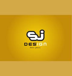 sj s j alphabet letter combination digit white on vector image vector image