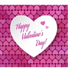 3d paper heart eps 10 Happy Valentines day card vector image vector image