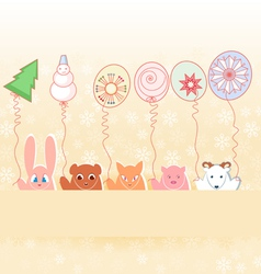 animals with new years balloons on pastel vector image vector image