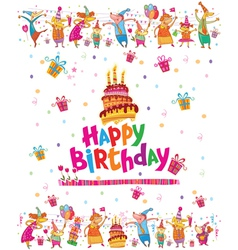 Birthday card design with cake vector image vector image