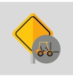 excavator wheeled machinery vector image vector image