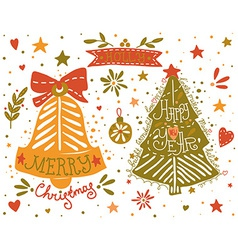 Hand drawn Christmas and New Year elements set vector image vector image