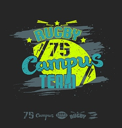 Rugby emblem campus team vector image vector image