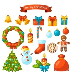Set of Merry Christmas holiday celebration object vector image vector image