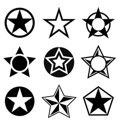 Shapes with five-pointed star vector