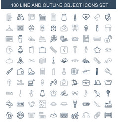 100 object icons vector