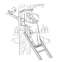a boy stands on a ladder leaning against a tree vector image