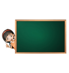 a girl and a green board vector image