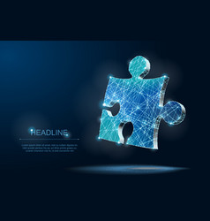 abstract puzzle on dark blue background low poly vector image