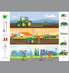 Agriculture and farming brochures vector