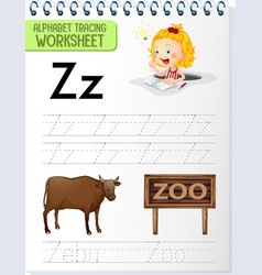 alphabet tracing worksheet with letter z and z vector image