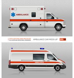Ambulance cars mockup vector