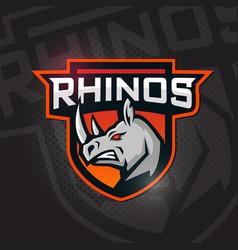 angy rhino head rhino mascot logo vector image