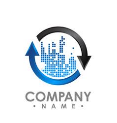 Arrows in circle - logo template concept vector