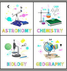 Astromony and chemistry set vector