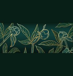 banner hand draw floral outline golden flower bud vector image