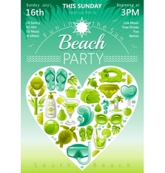 Beach party invitation in green lima and mint vector image