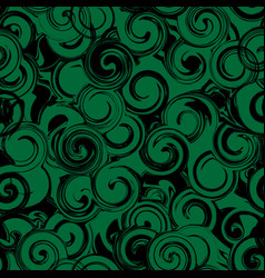 black and green twirl seamless pattern abstract vector image