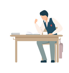 Boy sitting at school desk ready to fight with vector