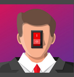 Businessman with power switch in head vector