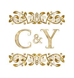 C and y vintage initials logo symbol letters vector