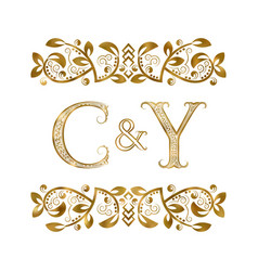 C and y vintage initials logo symbol the letters vector