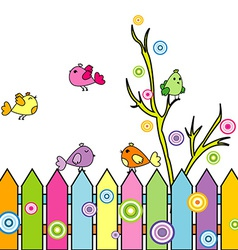 Card with cartoon birds on a fence vector image