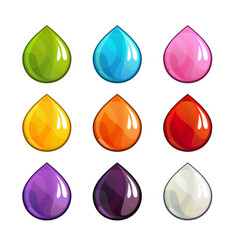 cartoon colorful drops icons set vector image