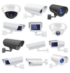 cctv camera large collection of white and black vector image