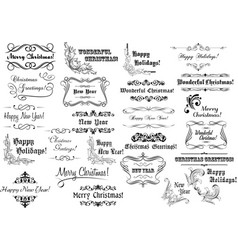 Christmas calligraphic lettering collection vector