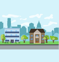 City with two-story and three-story cartoon houses vector