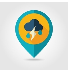 Cloud Rain Lightning flat pin map icon Weather vector image