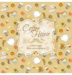 Coffee shop label on food and drink background vector image