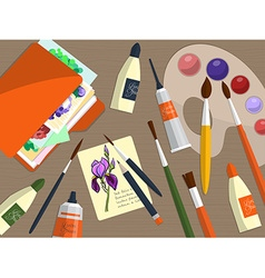 Collection of drawing tools and folder with papers vector image