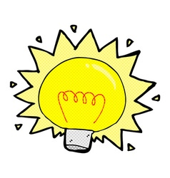 Comic cartoon electric light bulb vector