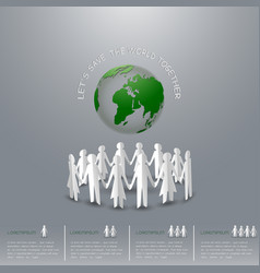 concept of save the earth people holding hand vector image
