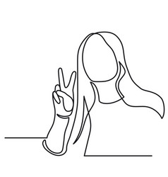 continuous line drawing of happy woman holding two vector image