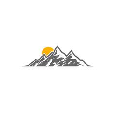 Creative mountains sunrise logo vector