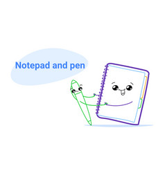 cute notebook holding hands with pen cartoon comic vector image