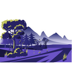 dawn view morning mist forest mountain outdoor vector image