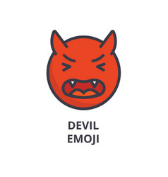 devil emoji line icon sign vector image