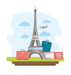 eiffel tower travel with baggage and passport vector image