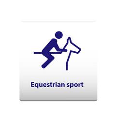 equestrian sport symbol stickman solid icon vector image