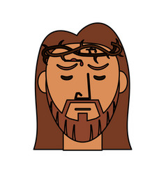 Face jesus christ with crown thorns catholic vector