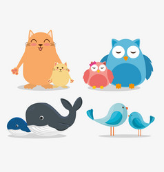 family animals group characters vector image