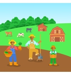 Farming black family in farm field flat background vector