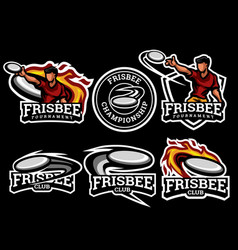 Frisbee logo and badge set image vector