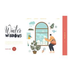 Girl relaxing at wintertime season landing page vector