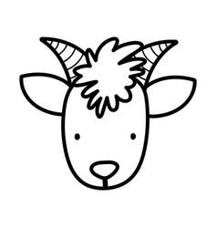 Goat face bovine farm cartoon animal thick line vector