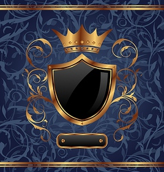 Golden vintage heraldic elements crown shield vector image